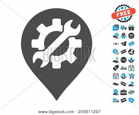 Service Tool Marker grey icon with free bonus pictures. Vector illustration style is flat iconic symbols.