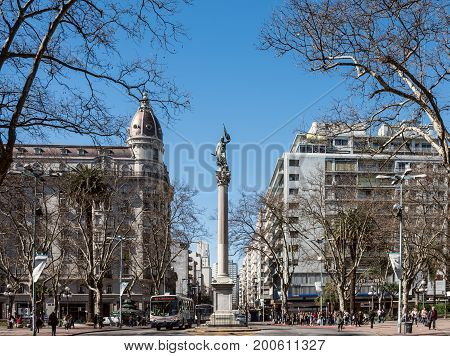 Montevideo Uruguay - August 18 2017: Cagancha square with the column Pillar of the World is extremely popular with tourists was built in 1836 is located in the historic district