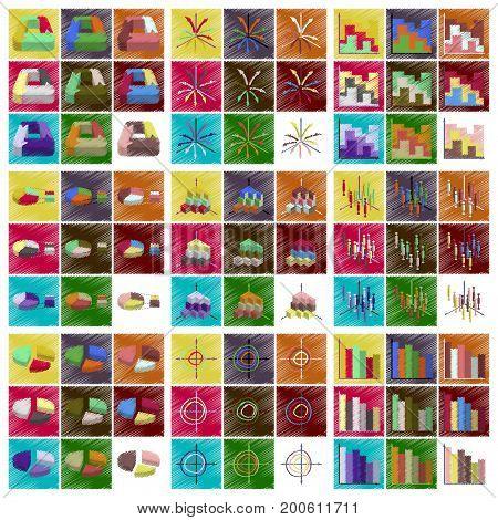 assembly flat shading style icons Economic graphs