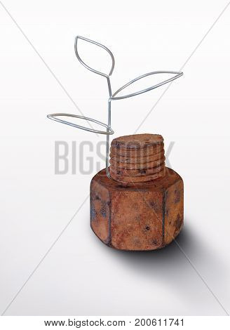Rusty nut and screw with the germ of wire on a light background