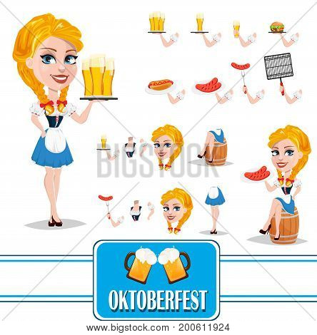 Oktoberfest sexy redhead girl character creation set. Full height various gestures poses. Vector illustration.