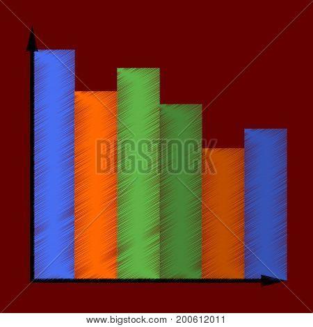 flat shading style icon Economic chart investment