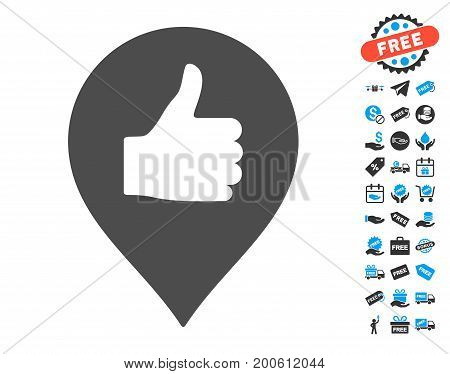 Thumb Up Map Marker grey pictograph with free bonus clip art. Vector illustration style is flat iconic symbols.