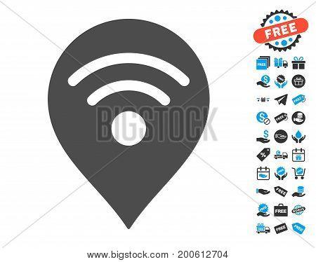 Wi-Fi Map Marker gray icon with free bonus icon set. Vector illustration style is flat iconic symbols.
