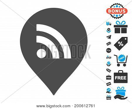 Wi-Fi Marker grey pictograph with free bonus images. Vector illustration style is flat iconic symbols.