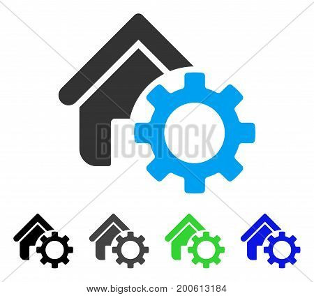 Homepage Options Gear flat vector pictograph. Colored homepage options gear, gray, black, blue, green pictogram variants. Flat icon style for web design.