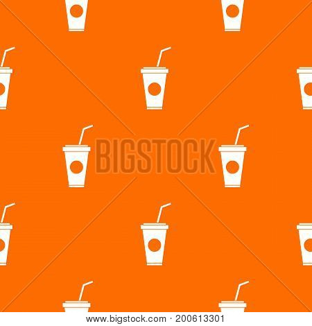 Paper cup with straw pattern repeat seamless in orange color for any design. Vector geometric illustration