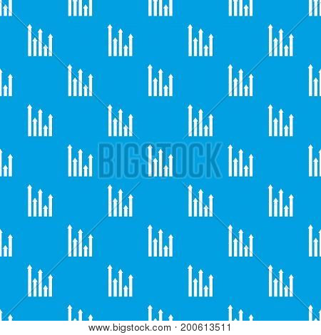 Upside growing arrows pattern repeat seamless in blue color for any design. Vector geometric illustration
