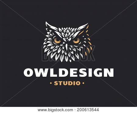 Owl head logo- vector illustration. Emblem design on black background