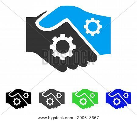 Smart Contract Handshake flat vector illustration. Colored smart contract handshake, gray, black, blue, green icon versions. Flat icon style for graphic design.