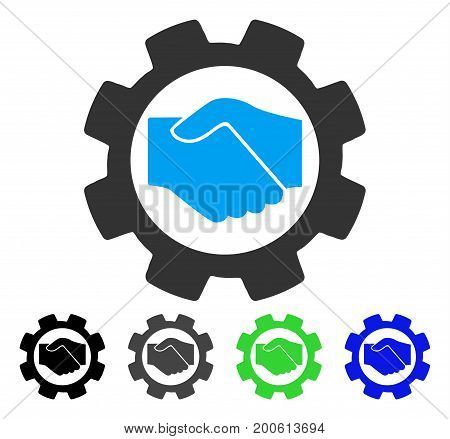 Smart Contract Setup Gear flat vector pictograph. Colored smart contract setup gear, gray, black, blue, green pictogram variants. Flat icon style for application design.