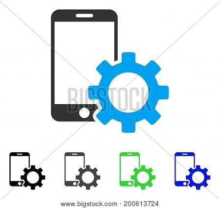 Smartphone Configuration Gear flat vector illustration. Colored smartphone configuration gear, gray, black, blue, green pictogram versions. Flat icon style for graphic design.
