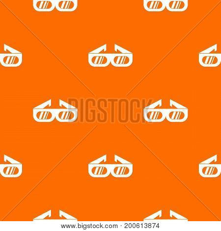 Glasses for 3D movie pattern repeat seamless in orange color for any design. Vector geometric illustration