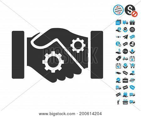 Smart Contract Handshake gray pictograph with free bonus icon set. Vector illustration style is flat iconic symbols.