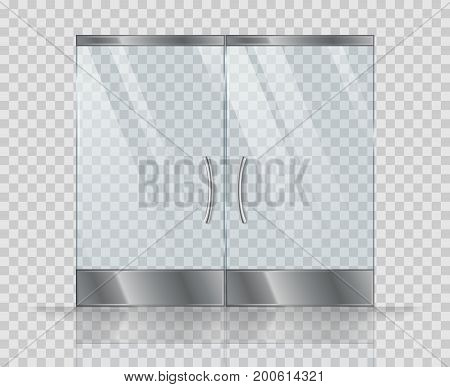 Double door clear glass. Vector realistic picture isolate on transparent background. Illustration of door glass with handle