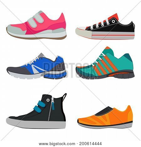 Fashion pictures of different sport sneakers. Vector pictures of colorful shoes. Fashion footwear style. Vector illustration