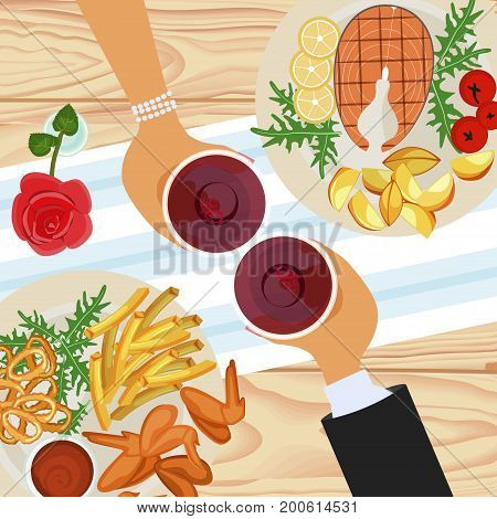 Pair of people in love on a date. Top view of dine with grilled chicken wings, fish and wine. Vector illustration eps 10