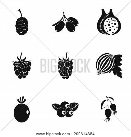 Eco berries icon set. Simple set of 9 eco berries vector icons for web isolated on white background