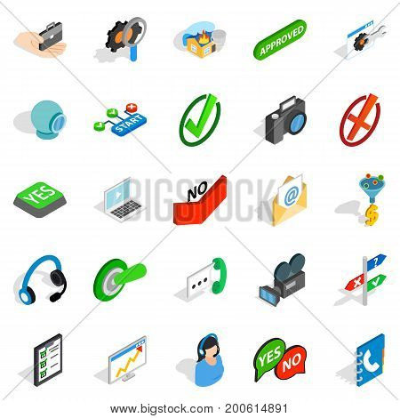 Advice icons set. Isometric set of 25 advice vector icons for web isolated on white background