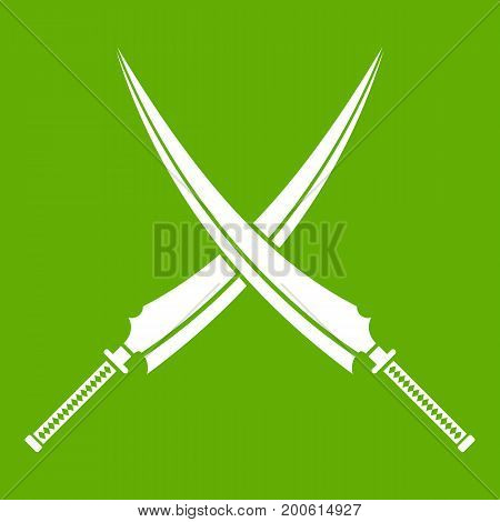 Samurai swords icon white isolated on green background. Vector illustration