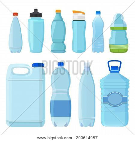 Plastic bottles for water of different types and sizes. Set of bottle transparent. Vector illustration