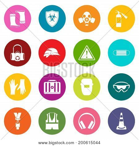 Safety icons many colors set isolated on white for digital marketing