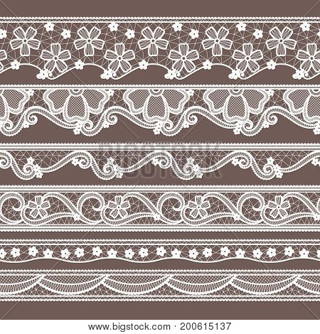 Set of six lace ribbons horizontal seamless patterns. Vector needlework illustrations. Lace pattern decoration textile