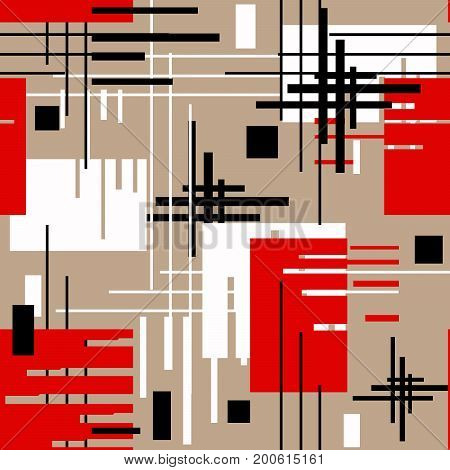 Seamless modern lined shapes pattern black, red, white, beige