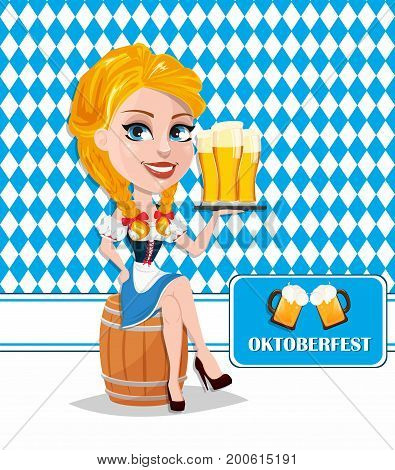 Oktoberfest flyer with sexy redhead girl sitting on barrel and holding beer. Vector illustration on traditional background. Cartoon character. Can be used for poster invitation banner.