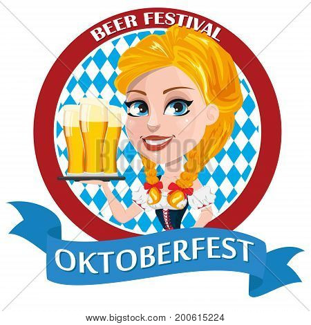Oktoberfest flyer with sexy redhead girl holding three pints of beer. Vector illustration. Can be used for poster invitation banner.
