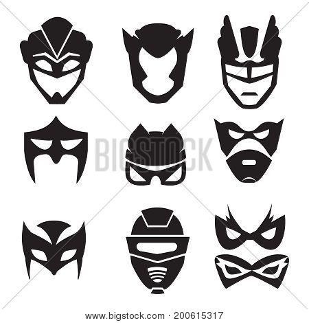 Black silhouette of superheroes masks. Vector monochrome illustrations set isolated. Silhouette black superhero mask for powerful character hero