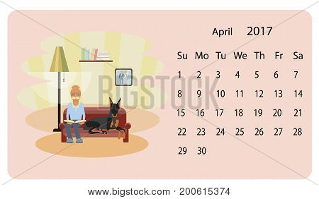 Calendar 2018 for April with dog and owner illustration in cartoon style. Isolated vector eps 10.