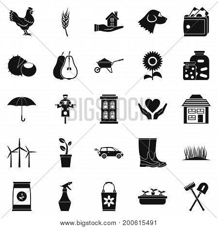 Grange icons set. Simple set of 25 grange vector icons for web isolated on white background