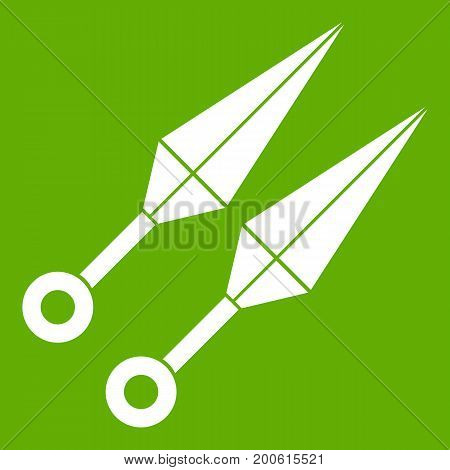 Ninja weapon kunai, throwing knives icon white isolated on green background. Vector illustration