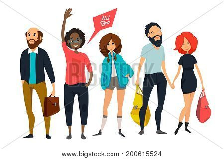 Group of young hipsters. Male and female characters in casual style clothes. Vector cartoon mascot illustrations. Young hipster group girl and boy, woman and man