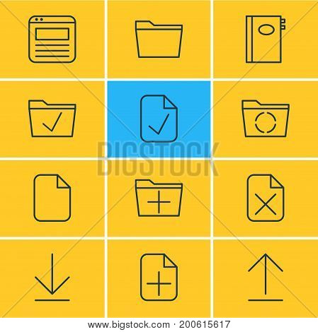 Editable Pack Of Approve, Plus, Template And Other Elements.  Vector Illustration Of 12 Office Icons.