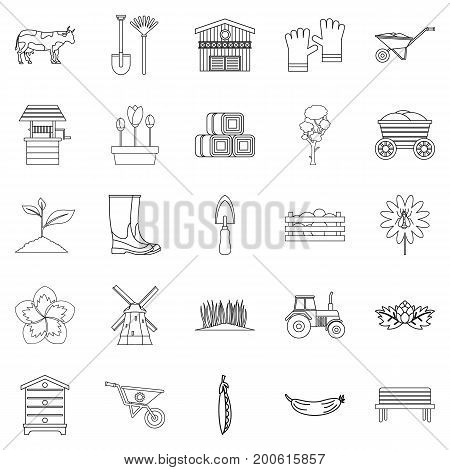Homestead icons set. Outline set of 25 homestead vector icons for web isolated on white background