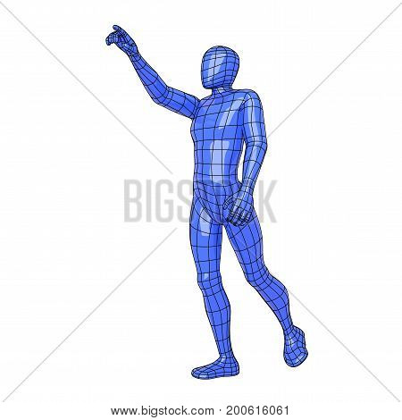 Wireframe Human Figure Asking For Something With The Hand