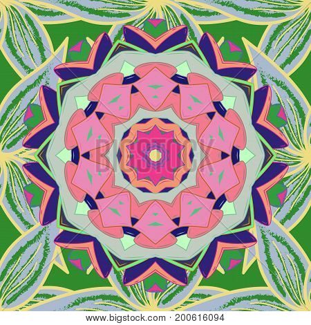 Geometric circle element in glod colors. Mandala on colorful background. Vector Round Ornament Pattern. Spiritual and ritual symbol of Islam Arabic Indian religions.
