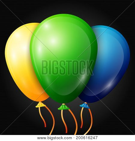 Realistic green, yellow, blue, balloons with ribbons isolated on black background. Vector illustration of shiny colorful glossy balloons