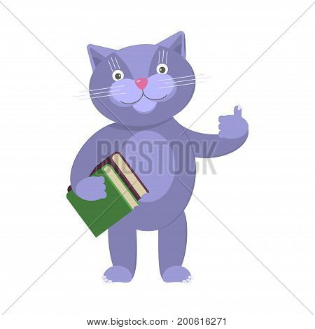 Back to school concept. Vector isolated illustration of funny cat pupil. eps10