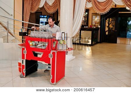 Skillful Bartender Performing Bar Tricks In Front Of A Big Audience On The Wedding.