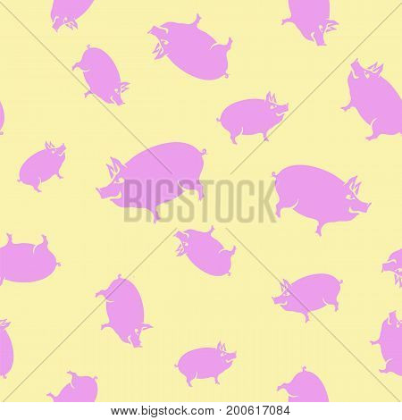 Pink Pig Seamless Pattern on Yellow Background