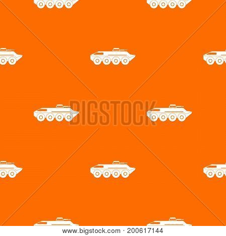 Armored personnel carrier pattern repeat seamless in orange color for any design. Vector geometric illustration