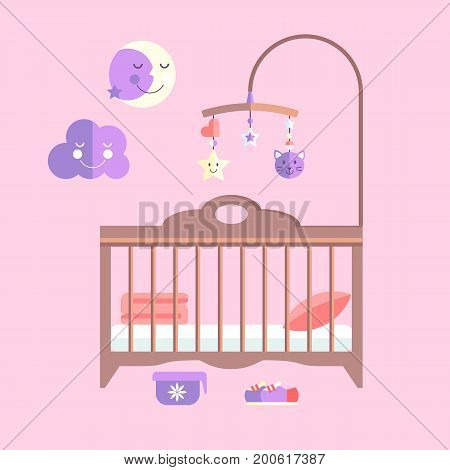 Vector flat baby bed. Infant bedroom with mobile. Stylish card.