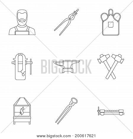 Blacksmith profession icon set. Outline set of 9 blacksmith profession vector icons for web isolated on white background