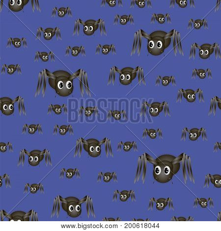 Spider Seamless Pattern Isolated on Blue Background