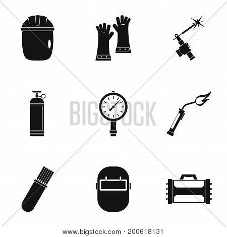 Welder instrument icon set. Simple set of 9 welder instrument vector icons for web isolated on white background