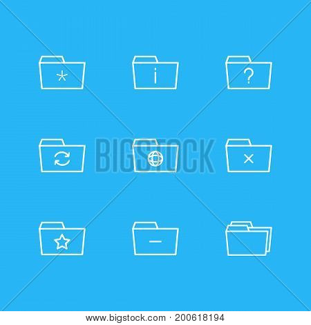 Editable Pack Of Dossier, Significant, Remove And Other Elements.  Vector Illustration Of 9 Folder Icons.
