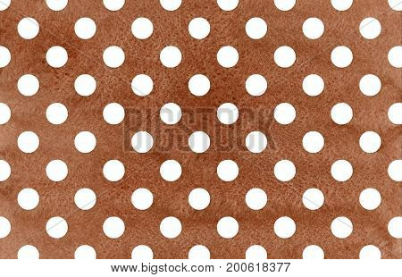 White Dots On Brown Watercolor Background.